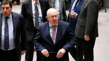 File Photo: Russian ambassador to the U.N. Vasily Nebenzya, February 23, 2018. © Brendan McDermid