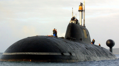 A file picture taken in Brest harbor, western France, on September 21, 2004, shows the Russian nuclear submarine of Shchuka-B type / FRED TANNEAU