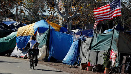 A homeless encampment  in Anaheim, California. © Mike Blake