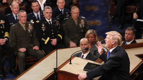 FILE PHOTO: The US military's Joint Chiefs of Staff listen to President Donald Trump's State of the Union address © Jonathan Ernst