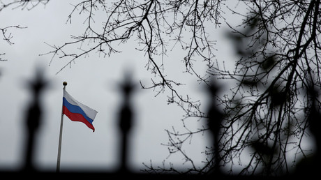 A Russian flag flies atop the Consulate General of the Russian Federation in Seattle, Washington, U.S., March 26, 2018. © Lindsey Wasson