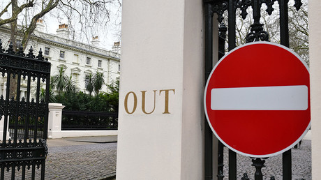 A no entry sign hangs at the entrance to a private road in front of the Russian embassy in central London © Justin Tallis