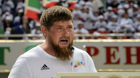 Head of the Chechen Republic Ramzan Kadyrov speaks before a soccer match with Italian veteran players, photo by stringer