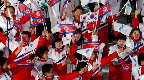Athletes from North Korea and South Korea during the closing ceremony of the Pyeongchang 2018 Winter Olympics. Reuters © Murad Sezer