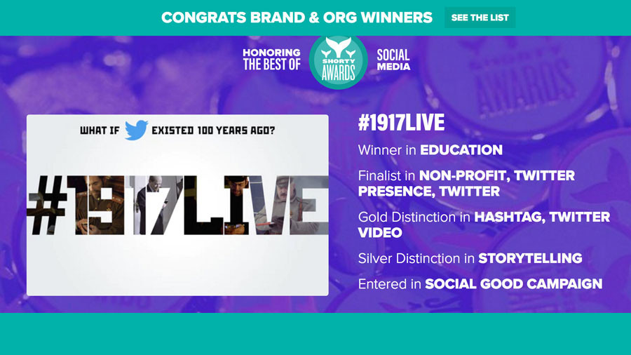 Best in Education, Best use of Hashtag: RT's #1917LIVE wins big at 10th Shorty Awards