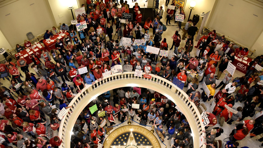 Striking Oklahoma teachers storm & occupy state capitol over pay and funding (PHOTOS, VIDEO)
