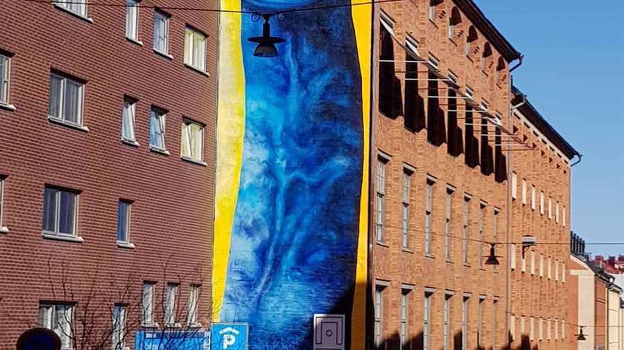 Outrage as giant blue penis painted along building in Sweden (PHOTOS)