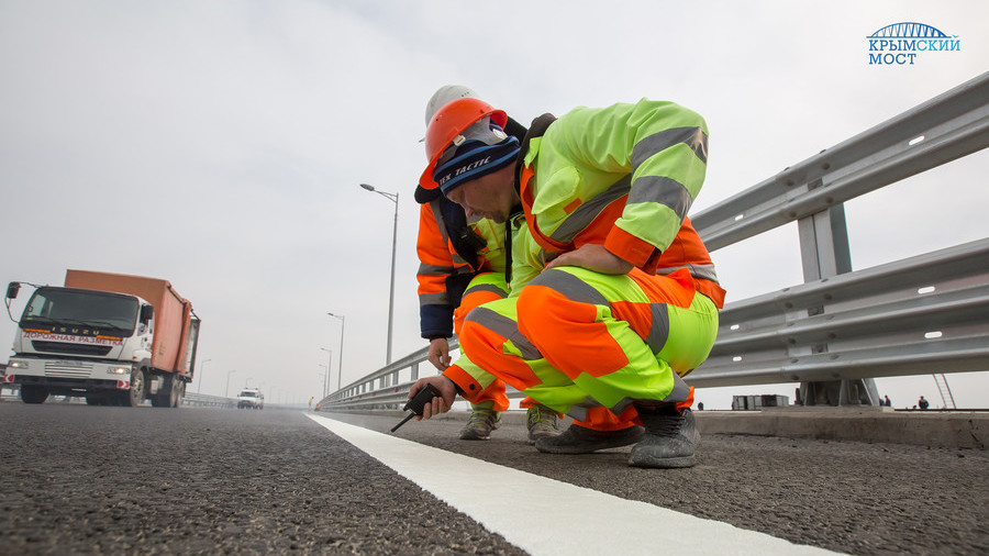 Final touches: Crimean bridge gets road marking before opening for traffic (PHOTOS, VIDEO)