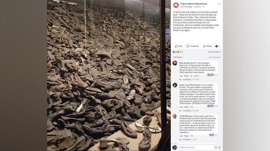 Virginia Republicans slam gun-control hoaxers who used photo of children's shoes at Auschwitz