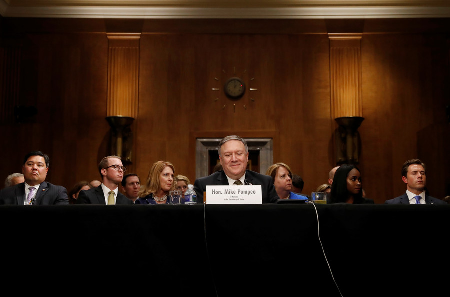 'We're exceptional, Russia is not': Pompeo takes hard line in Senate pitch