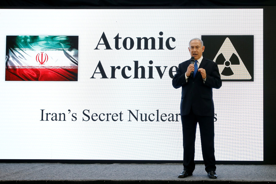Netanyahu shows slides, shelves of docs claiming Iran has nuclear weapons program
