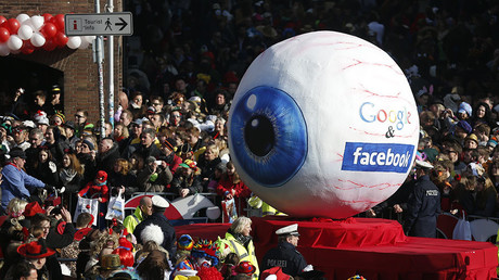 A carnival float with a papier-mache caricature representing Google and Facebook in the western German city of Duesseldorf © Ina Fassbender