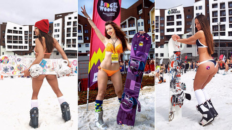 Bikini skiing: Thousands strip off on Sochi slopes to enter Guinness Book of Records (PHOTOS)