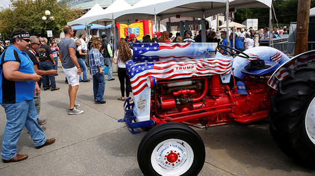 FILE PHOTO. A tractor painted to support Republican presidential nominee Donald Trump at the Iowa State Fairgrounds in Des Moines © Scott Morgan