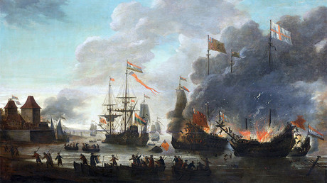 The Dutch burning English ships during the Raid on the Medway, 20 June 1667. oil on panel, Rijksmuseum, Amsterdam