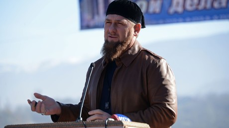 Head of the Chechen Republic Ramzan Kadyrov, center, addresses the ceremony to unveil a bridge over the Argun River near Chishki village in Grozny District of the Chechen Republic © Said Tsarnaev
