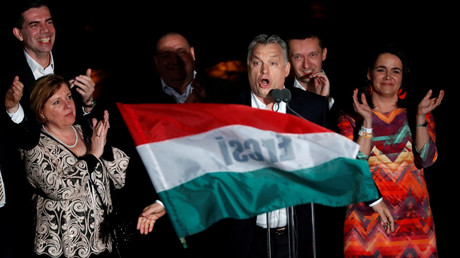 Hungarian Prime Minister Viktor Orban addresses supporters after the announcement of theresults of parliamentary election in Budapest, Hungary, April 8, 2018. © Bernadett Szabo