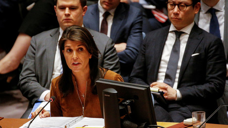 United States envoy to the United Nations Nikki Haley addresses the Security Council, April 9, 2018. © Brendan McDermid