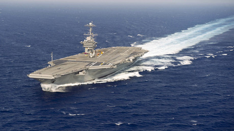 The aircraft carrier USS Harry S. Truman performs a full power run during sea trials in the Atlantic Ocean © US Navy