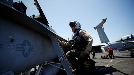 Airmen aboard the USS Harry S. Truman, which has been dispatched to the eastern Mediterranean.