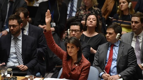 US ambassador to the United Nations, Nikki Haley during United Nations Security Council meeting, April 10, 2018  © HECTOR RETAMAL