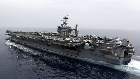 USS Harry Truman strike group sets sail Wednesday from the US, reportedly deployed to the Mediterranean, along with seven warships each armed with dozens of cruise missiles. © Fabrizio Bensch