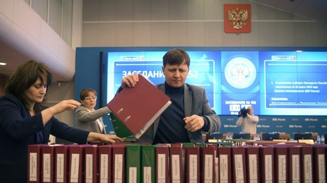 Information Center of the Central Election Commission before the announcement of the results of voting in the election of the President of the Russian Federation © Evgeny Biyatov