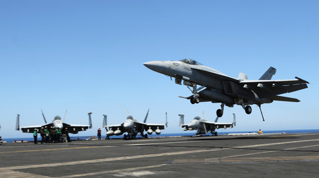Fighter jets aboard USS Harry S. Truman, an aircraft carrier that has been dispatched to the Middle East.