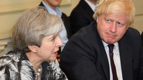 Prime Minister Theresa May next to Foreign Secretary Boris Johnson, during a Cabinet meeting in 2017.