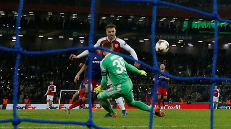 Arsenal's Aaron Ramsey scores team's second goal against CSKA Moscow © Grigory Dukor