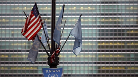 U.N. flags and the U.S. flag are seen in front of the United Nations headquarters © Eduardo Munoz