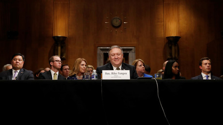 CIA Director Mike Pompeo testifies before a Senate Foreign Relations Committee confirmation hearing on Pompeo's nomination to be secretary of state in Washington, US, April 12, 2018 © Leah Millis
