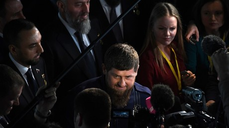 Head of the Chechen Republic Ramzan Kadyrov talks to reporters after Vladimir Putin's annual Presidential Address to the Federal Assembly © Alexey Kudenko