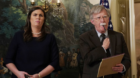 White House Press Secretary Sarah Huckabee Sanders and new National Security Advisor John Bolton © Yuri Gripas