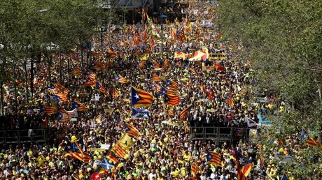 Pro-independence supporters march n in Barcelona, Spain, April 15, 2018. © Albert Gea