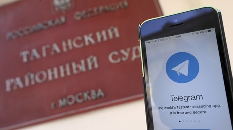 Mobile phone with Telegram start screen © Aleksandr Avilov / Moskva news agency