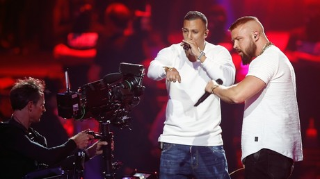 German rappers Kollegah & Farid Bang perform during the 2018 Echo Music Award ceremony in Berlin. ©Axel Schmidt