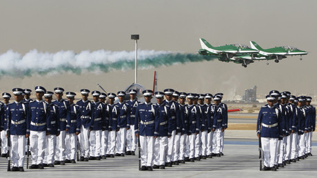 Royal Saudi Air Force jets fly in formation during a graduation ceremony for air force officers at King Faisal Air Academy in Riyadh January 1, 2013. © Fahad Shadeed