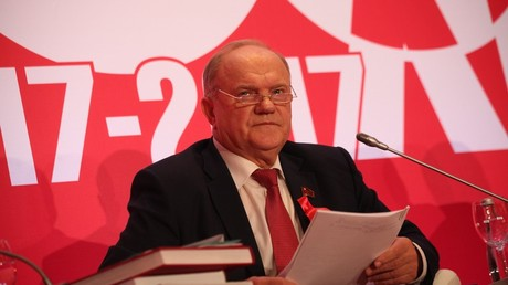 The head of the Communist Party of the Russian Federation, Gennadiy Zyuganov, at the international leftist forum dedicated to centenary of the Great October Socialist Revolution © Sergey Vedyashkin, Moskva News Agency