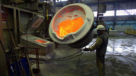 Production of aluminum at RUSAL smelter factory, Russia © Ilya Naymushin