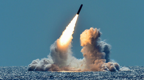 FILE PHOTO: An unarmed Trident II D5 missile test launch from a US Navy submarine off the coast of California © US Navy/Mass Communication Specialist 1st Class Ronald Gutridge