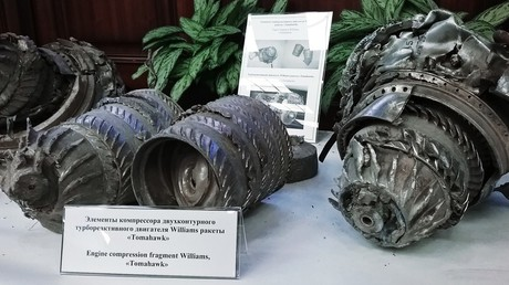 Alleged fragments of missiles fired by the US-led coalition on April 13-14 and shot down by the Syrian air defense forces, as shown by the Russian defense ministry. © Igor Ermachenkov