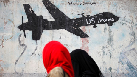 A graffiti denouncing US drone strikes in Yemen. © Khaled Abdullah