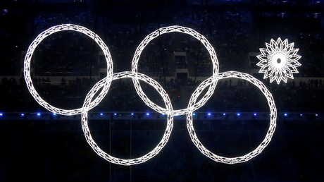 Four of five Olympic Rings lit up during the opening ceremony of the 2014 Sochi Winter Olympics © Lucy Nicholson