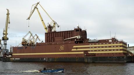 Floating nuclear power plant 'Akademik Lomonosov' seen in St. Petersburg, Russia on April 28, 2018. © Aleksandr Galperin
