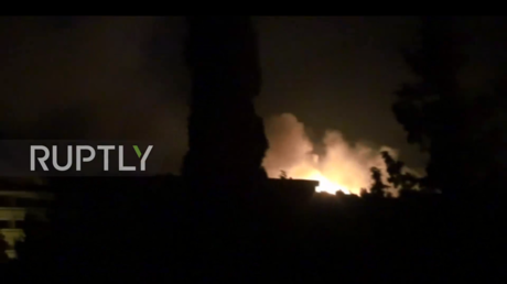 Screen shot from a footage showing large explosion at a Syrian military base in the province of Hama following reports of a missile attack © Ruptly