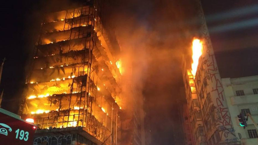 Blazing skyscraper collapses in Sao Paulo