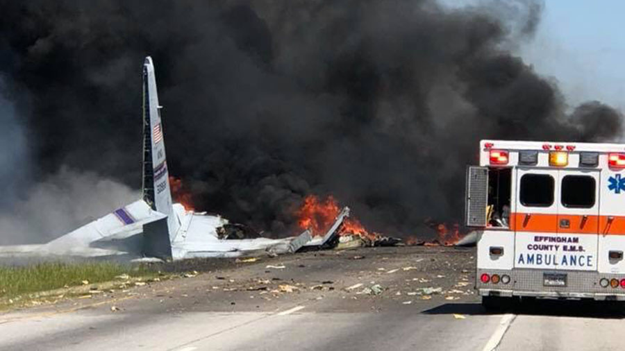 Nine aboard USA  military plane destroyed in fiery crash