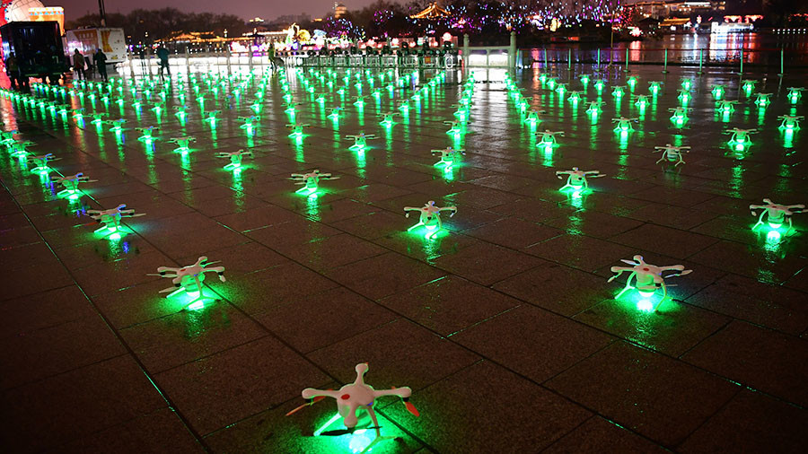 Image result for EHang Egret's 1374 drones dancing over the City Wall of Xi'an, achieving the Guinness World Records