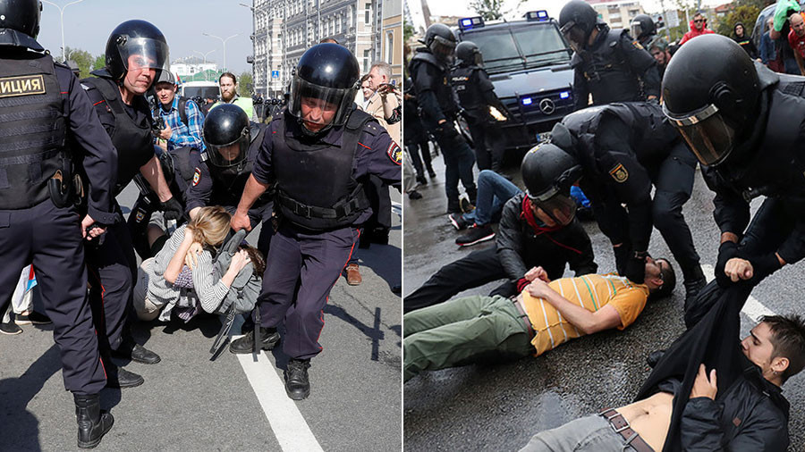 EU slams police 'violence' at Russian rally, yet sides with authorities in Catalonia crackdown